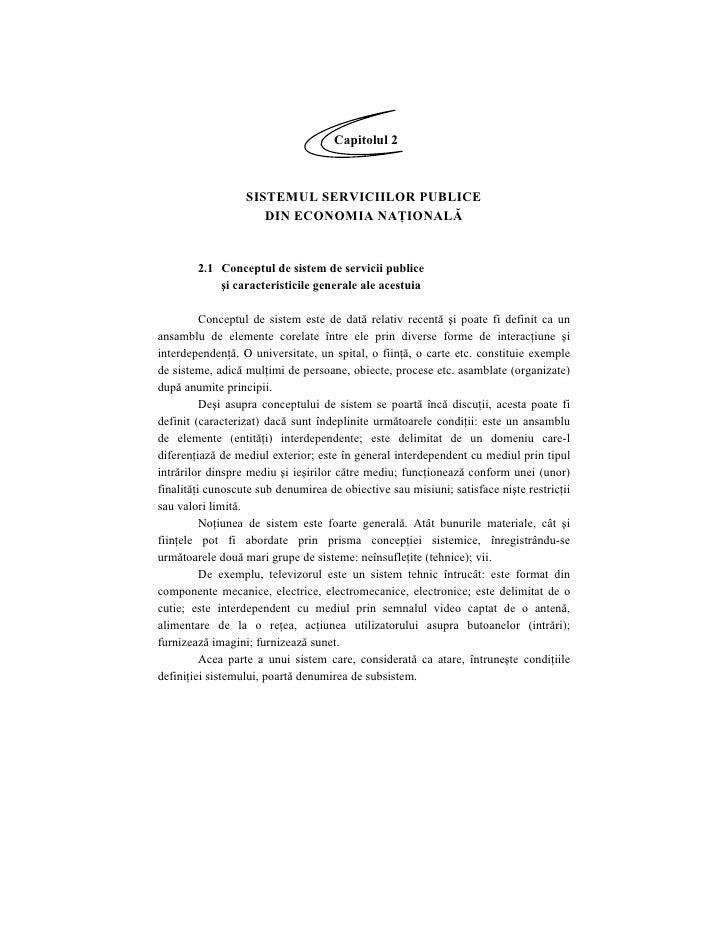 Capitolul 2                      SISTEMUL SERVICIILOR PUBLICE                      DIN ECONOMIA NAŢIONALĂ           2.1 Co...