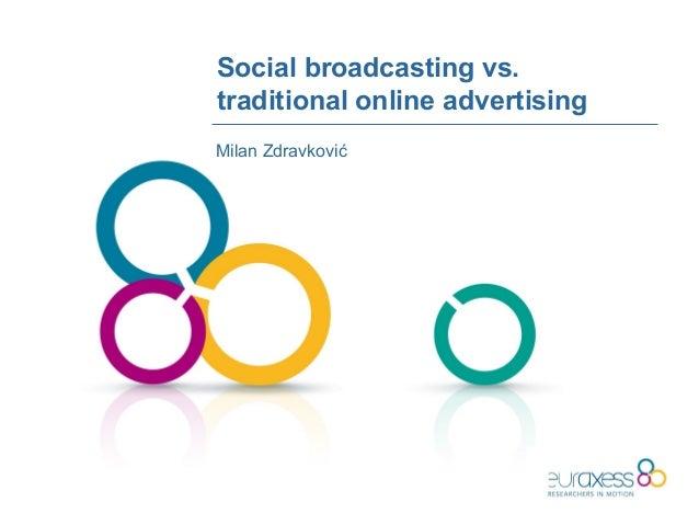 Social broadcasting vs.traditional online advertisingMilan Zdravković