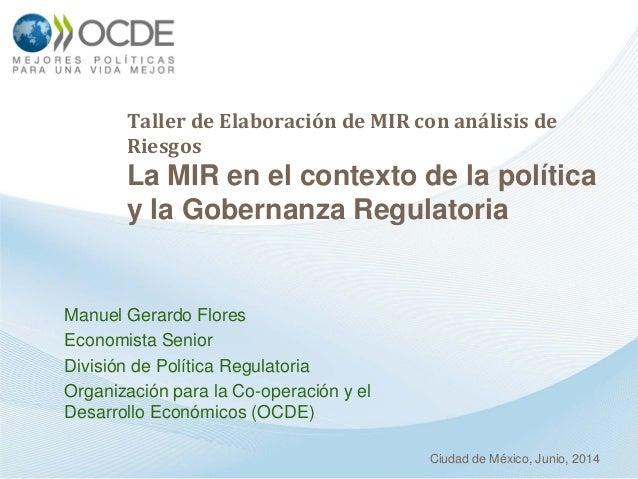Taller de Elaboración de MIR con análisis de Riesgos La MIR en el contexto de la política y la Gobernanza Regulatoria Manu...