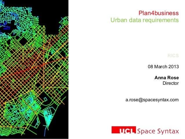 Plan4businessUrban data requirementsRICS08 March 2013Anna RoseDirectora.rose@spacesyntax.com
