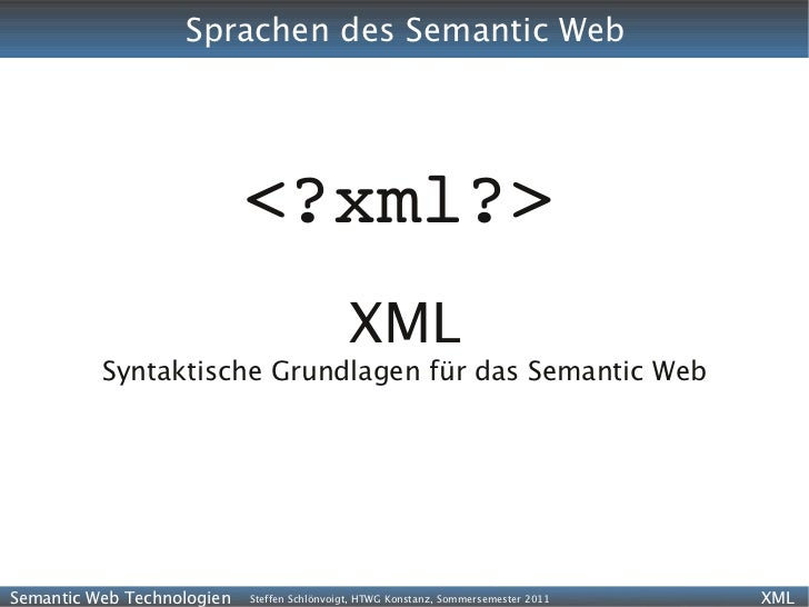 Sprachen des Semantic Web                            <?xml?>                                              XML          Syn...