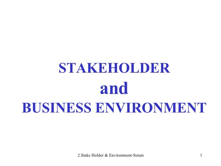 STAKEHOLDER and BUSINESS ENVIRONMENT