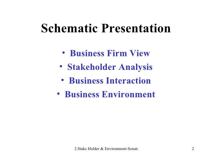 Schematic Presentation <ul><li>Business Firm View </li></ul><ul><li>Stakeholder Analysis </li></ul><ul><li>Business Intera...