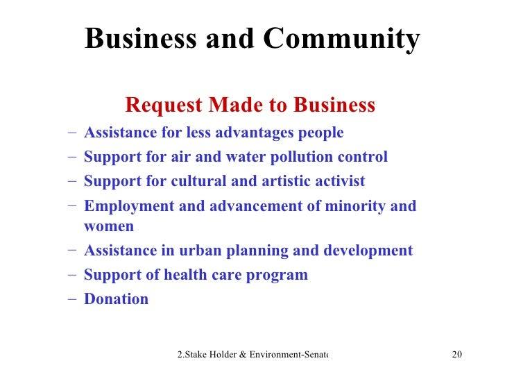 Business and Community <ul><li>Request Made to Business </li></ul><ul><ul><li>Assistance for less advantages people </li><...