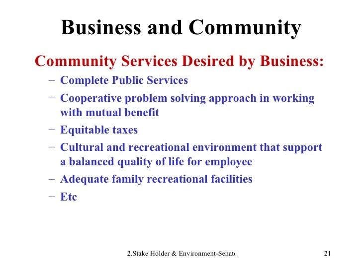 Business and Community <ul><li>Community Services Desired by Business: </li></ul><ul><ul><li>Complete Public Services </li...