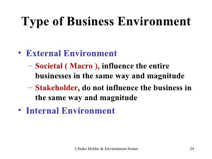 Type of Business Environment <ul><li>External Environment </li></ul><ul><ul><li>Societal ( Macro ),  influence the entire ...