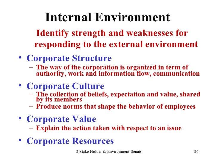 Internal Environment <ul><li>Identify strength and weaknesses for responding to the external environment </li></ul><ul><li...