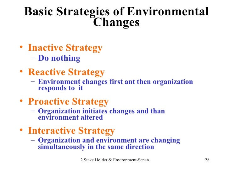 Basic Strategies of Environmental Changes <ul><li>Inactive Strategy </li></ul><ul><ul><li>Do nothing </li></ul></ul><ul><l...