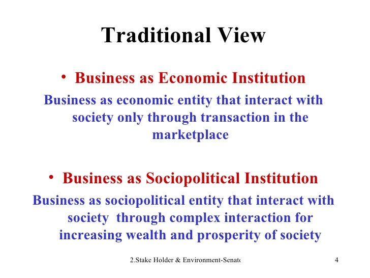 Traditional View <ul><li>Business as Economic Institution </li></ul><ul><li>Business as economic entity that interact with...