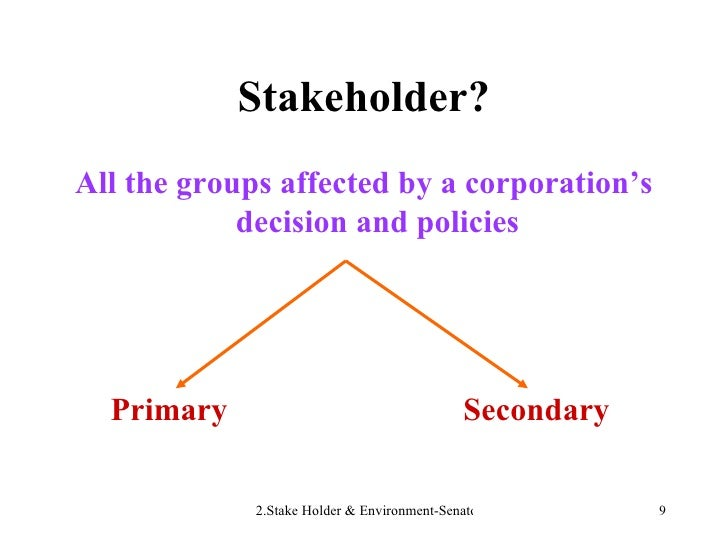 Stakeholder? <ul><li>All the groups affected by a corporation's decision and policies </li></ul><ul><li>Primary  Secondary...