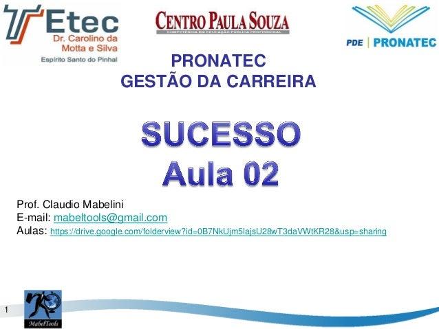 1 PRONATEC GESTÃO DA CARREIRA Prof. Claudio Mabelini E-mail: mabeltools@gmail.com Aulas: https://drive.google.com/foldervi...