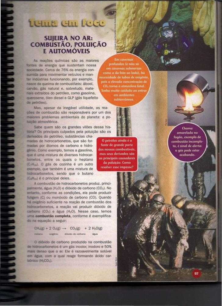 •                       O AR:                 STÃO, POLUIÇÃO                  TOMÓVEIS                   s químicas são as...