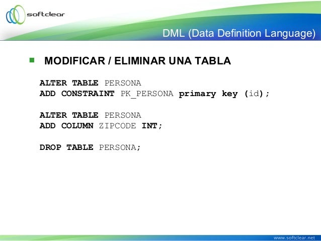 Fundamentos de sql - Alter table add constraint primary key ...