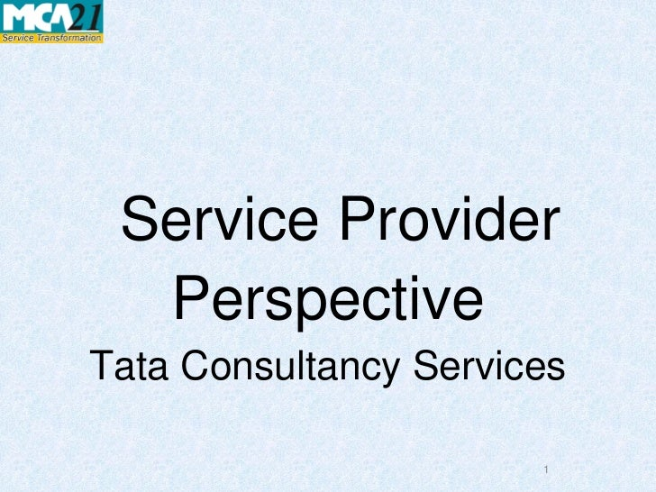 Service Provider  PerspectiveTata Consultancy Services                       1