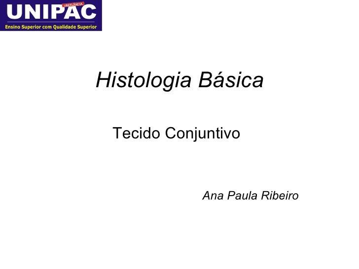 Histologia Básica Tecido Conjuntivo Ana Paula Ribeiro