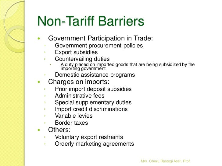 2 Theories Of International Trade Tariff And Non Tariff Barriers An