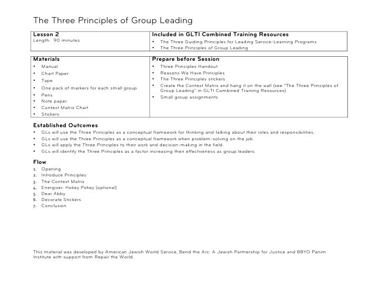 The Three Principles of Group Leading!Lesson 2                                                   Included in GLTI Combined...