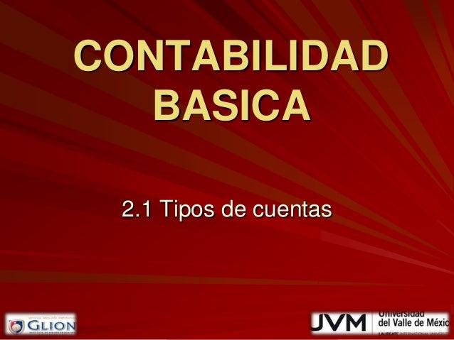 CONTABILIDAD   BASICA 2.1 Tipos de cuentas