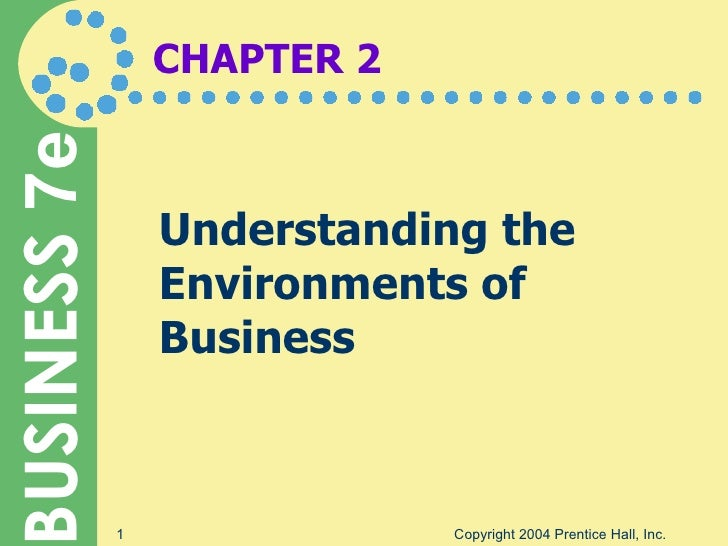 CHAPTER 2 Understanding the Environments of Business Copyright 2004 Prentice Hall, Inc.