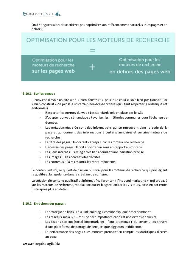 www.entreprise-agile.biz  On distinguera alors deux critères pour optimiser son référencement naturel, sur les pages et en...