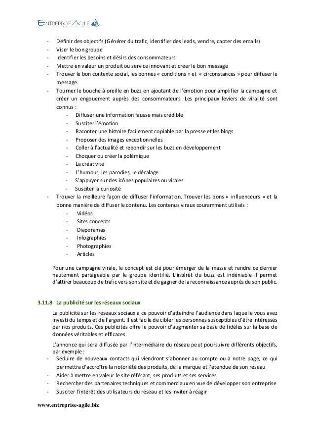www.entreprise-agile.biz  - Définir des objectifs (Générer du trafic, identifier des leads, vendre, capter des emails)  - ...