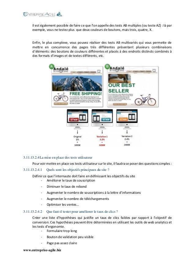 www.entreprise-agile.biz  Il est également possible de faire ce que l'on appelle des tests AB multiples (ou teste AZ) : là...