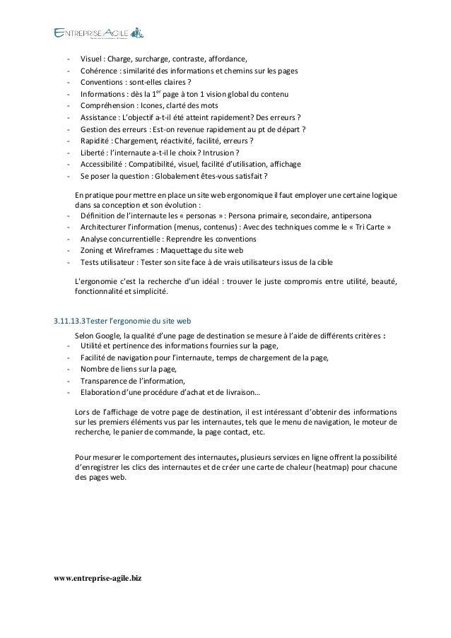 www.entreprise-agile.biz  - Visuel : Charge, surcharge, contraste, affordance,  - Cohérence : similarité des informations ...