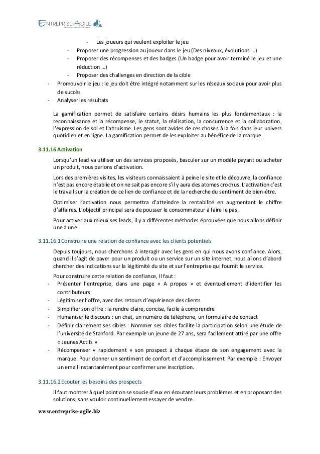 www.entreprise-agile.biz  - Les joueurs qui veulent exploiter le jeu  - Proposer une progression au joueur dans le jeu (De...