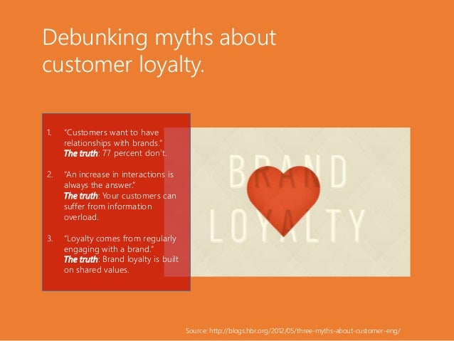 """Debunking myths about customer loyalty. 1. """"Customers want to have relationships with brands."""" The truth: 77 percent don't..."""