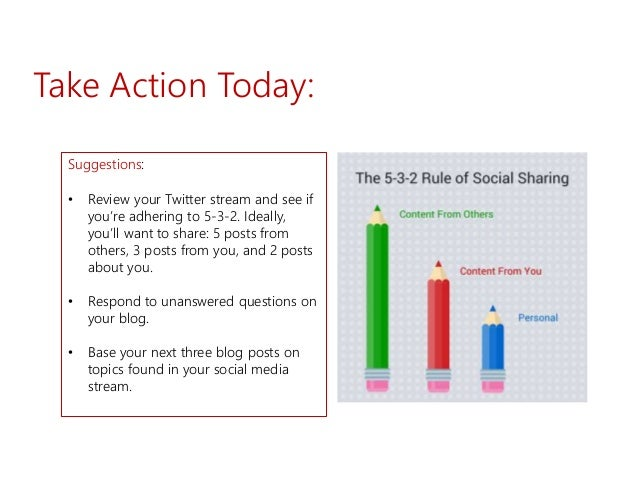 Take Action Today: Suggestions: • Review your Twitter stream and see if you're adhering to 5-3-2. Ideally, you'll want to ...