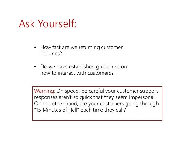 Ask Yourself: • How fast are we returning customer inquiries? • Do we have established guidelines on how to interact with ...