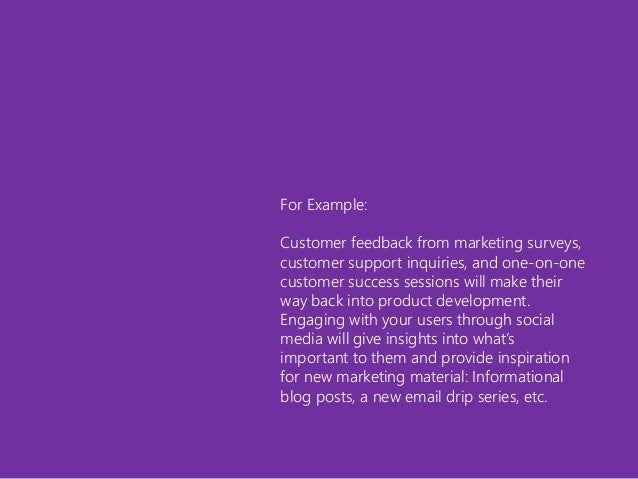 For Example: Customer feedback from marketing surveys, customer support inquiries, and one-on-one customer success session...