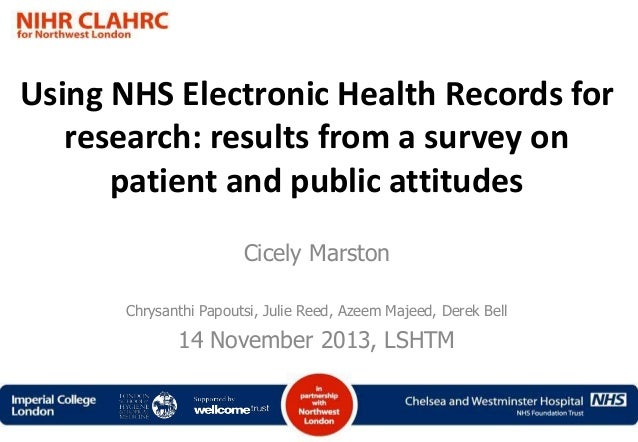 Using NHS Electronic Health Records for research: results from a survey on patient and public attitudes Cicely Marston Chr...