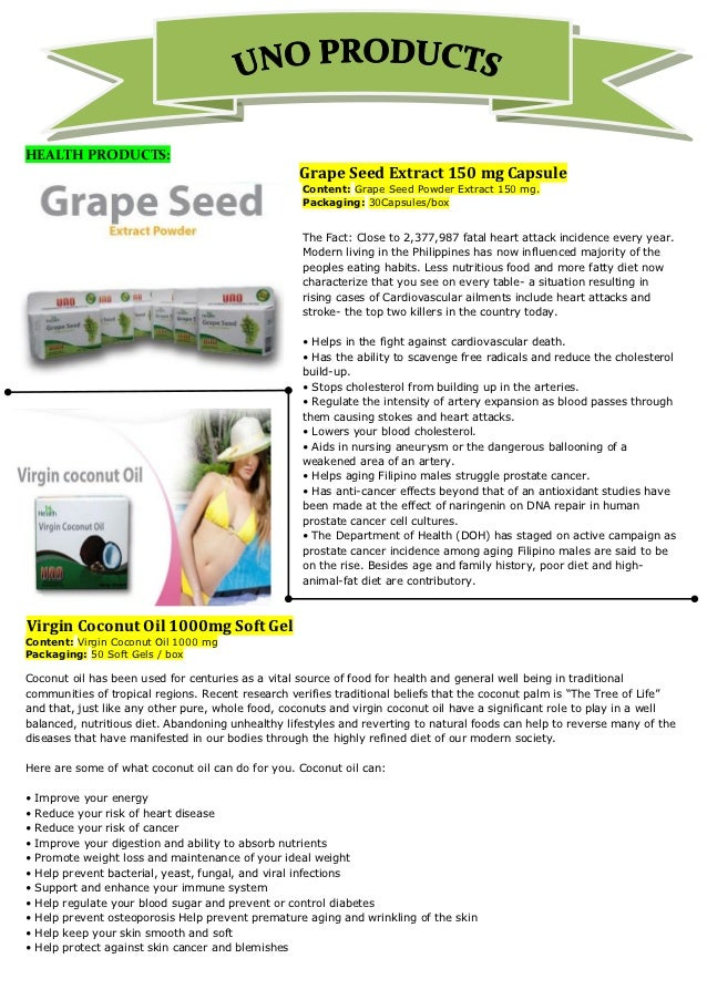 HEALTH PRODUCTS:                                                   Grape Seed Extract 150 mg Capsule                      ...