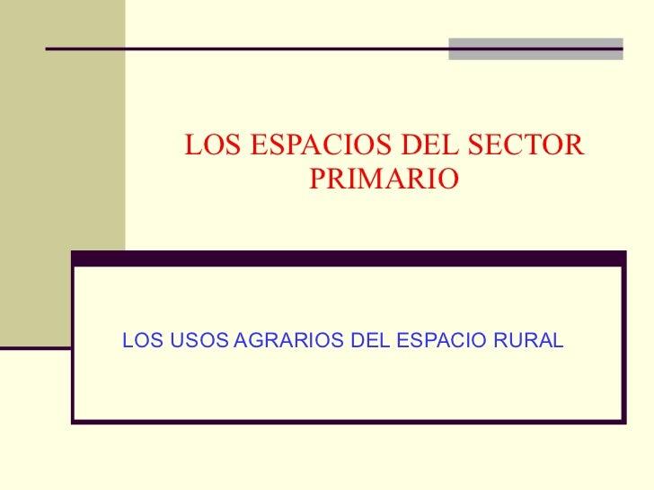 LOS ESPACIOS DEL SECTOR PRIMARIO LOS USOS AGRARIOS DEL ESPACIO RURAL