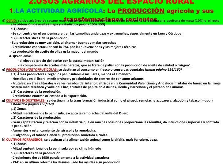 2.USOS AGRARIOS DEL ESPACIO RURAL 1 .LA ACTIVIDAD AGRÍCOLA : La  PRODUCCIÓN  agrícola y sus transformaciones recientes . <...