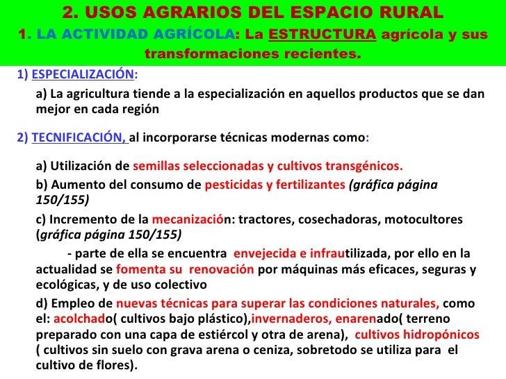 2. USOS AGRARIOS DEL ESPACIO RURAL 1 . LA ACTIVIDAD AGRÍCOLA :  La  ESTRUCTURA  agrícola y sus transformaciones recientes....