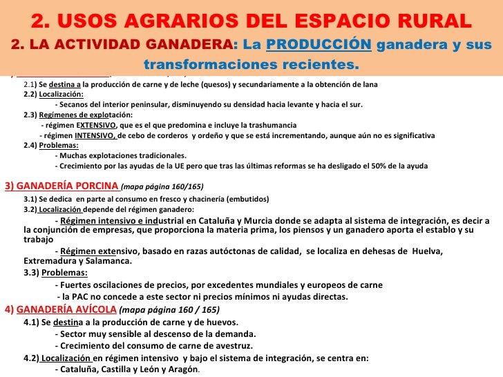 2. USOS AGRARIOS DEL ESPACIO RURAL 2. LA ACTIVIDAD GANADERA : La  PRODUCCIÓN  ganadera y sus transformaciones recientes. 2...