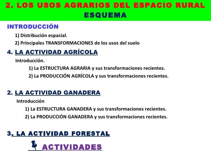 2. LOS USOS AGRARIOS DEL ESPACIO RURAL ESQUEMA <ul><li>INTRODUCCIÓN </li></ul><ul><li>1) Distribución espacial. </li></ul>...