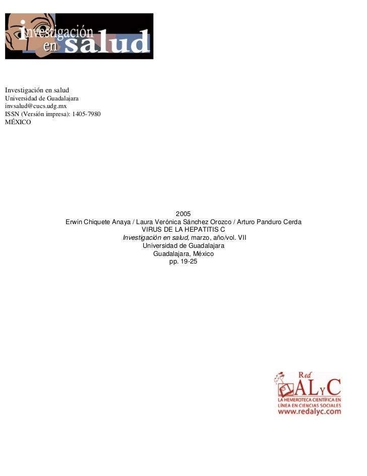 Investigación en saludUniversidad de Guadalajarainvsalud@cucs.udg.mxISSN (Versión impresa): 1405-7980MÉXICO               ...