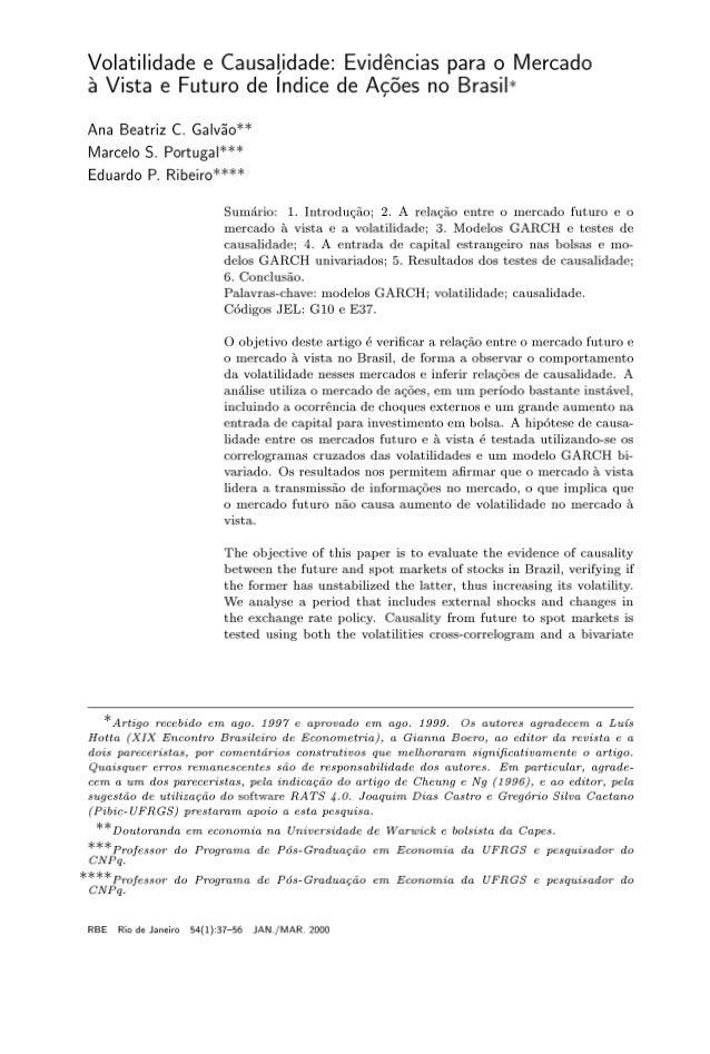 2   volatilidade e causalidade evidencias para o mercado a vista e futuro de indices de acoes no brasil