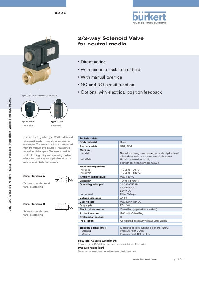 0223  2/2-way Solenoid Valve for neutral media  • Direct acting • With hermetic isolation of fluid • With manual override ...