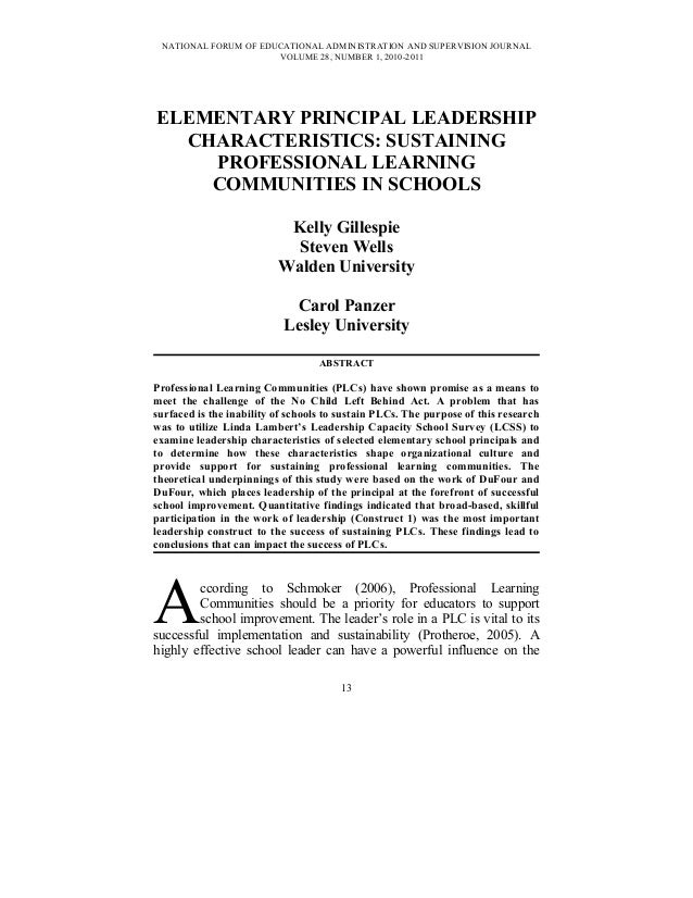 NATIONAL FORUM OF EDUCATIONAL ADMINISTRATION AND SUPERVISION JOURNAL VOLUME 28, NUMBER 1, 2010-2011 ELEMENTARY PRINCIPAL L...