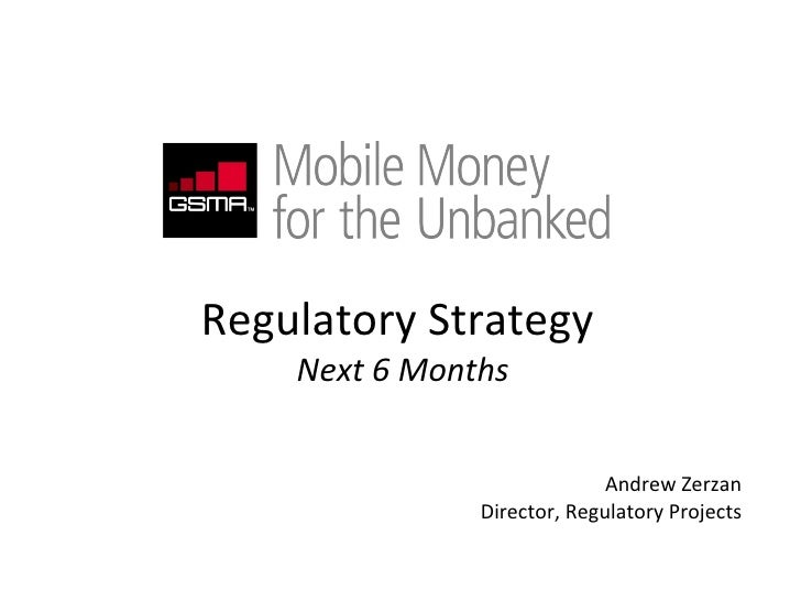 Regulatory Strategy  Next 6 Months Andrew Zerzan Director, Regulatory Projects