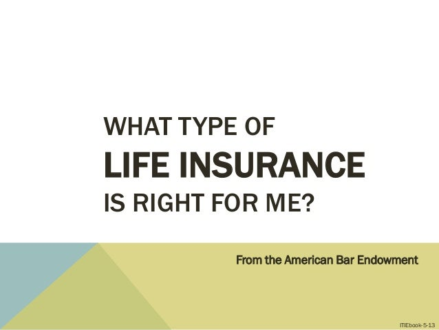 WHAT TYPE OF LIFE INSURANCE IS RIGHT FOR ME? From the American Bar Endowment ITIEbook-5-13