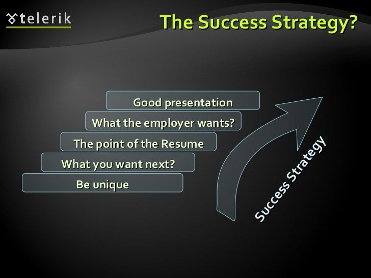 The Success Strategy? What you want next? The point of the Resume What the employer wants? Good presentation Be unique Suc...