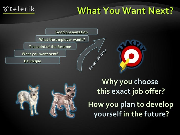 What You Want Next? <ul><li>Why you  choose   this  exact  job offer? </li></ul>What you want next? The point of the Resum...