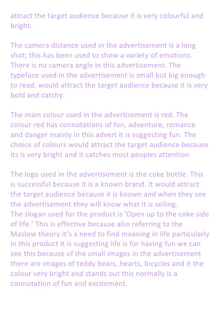 written analysis on coca cola advertisment this would 2 attract