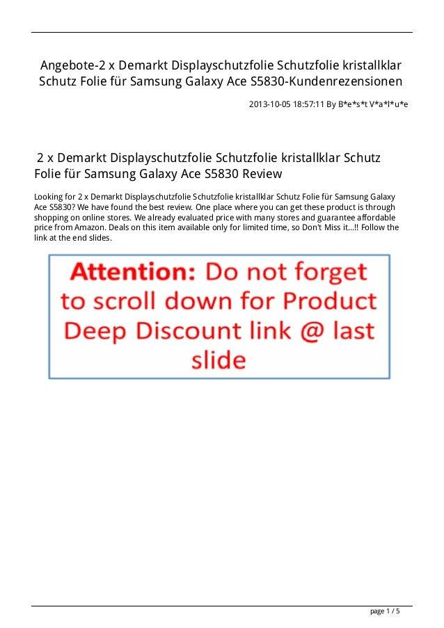 Angebote-2 x Demarkt Displayschutzfolie Schutzfolie kristallklar Schutz Folie für Samsung Galaxy Ace S5830-Kundenrezension...