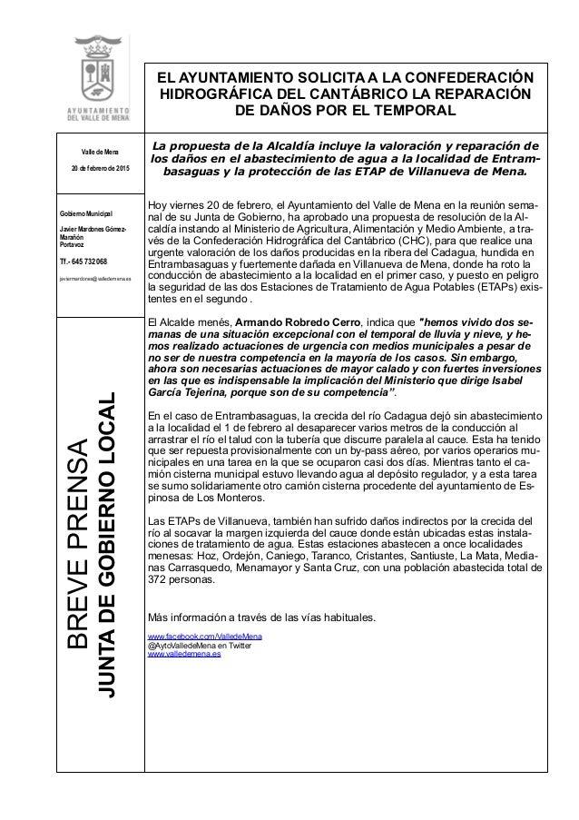 BREVEPRENSA JUNTADEGOBIERNOLOCAL EL AYUNTAMIENTO SOLICITA A LA CONFEDERACIÓN HIDROGRÁFICA DEL CANTÁBRICO LA REPARACIÓN DE ...